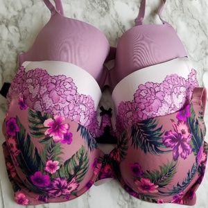 3 VS Victoria's Secret Bras Size 38DD PINK